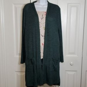 Knox Rose Dk. Teal Pocketed Open Front Cardigan